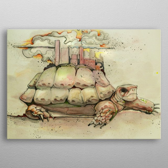 Hand drawn watercolor illustration or drawing of a turtle with a city or urban landscape on its shell metal poster