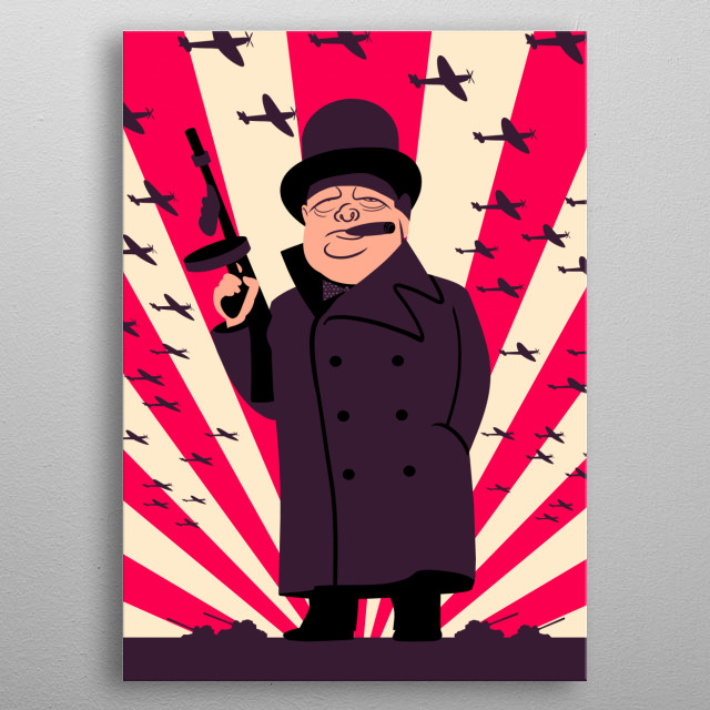 Retro style illustration of Winston Churchill with a Tommy Gun metal poster