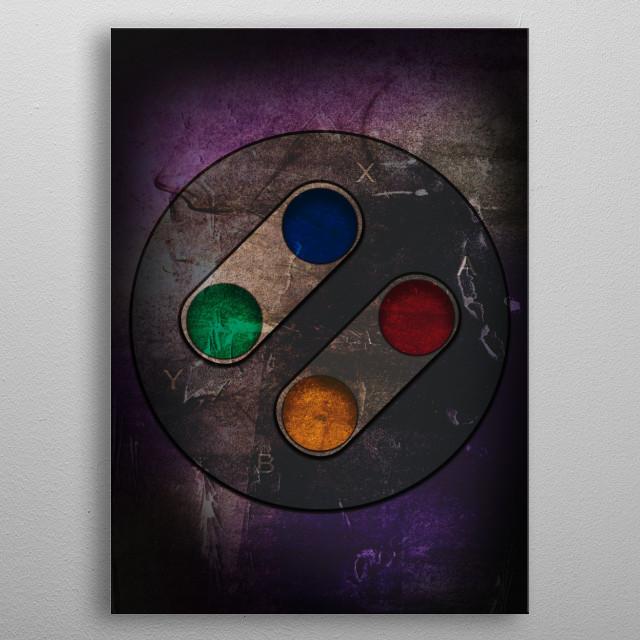 Snes controller artwork metal poster