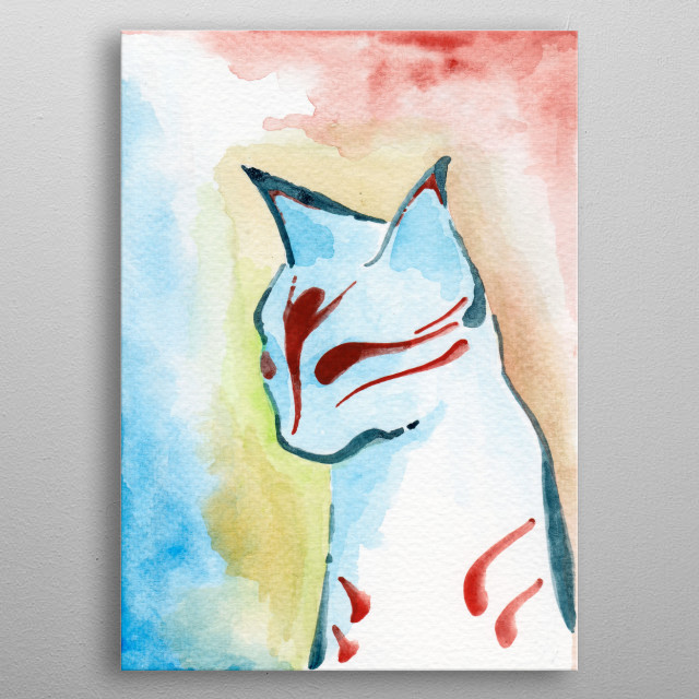 Kabuki Cat metal poster