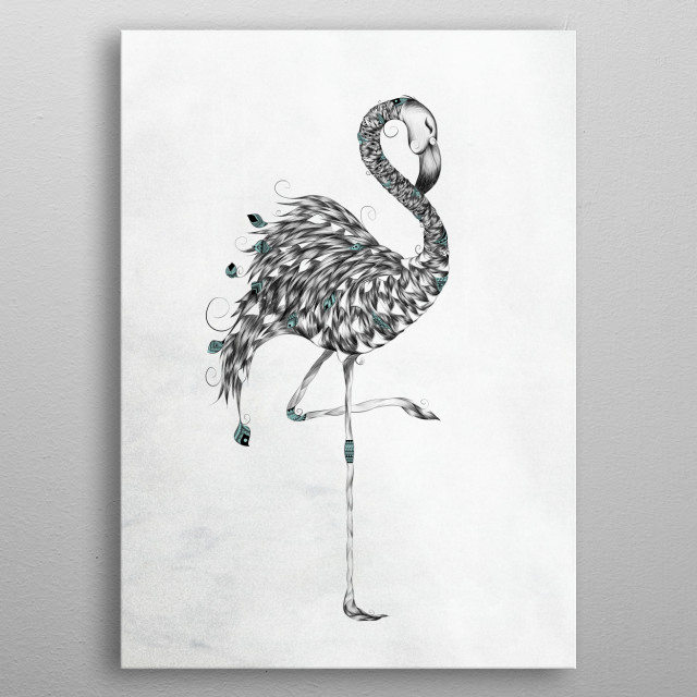 Poetic Flamingo  metal poster