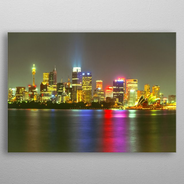 Sydney skyline from Pinchgut metal poster