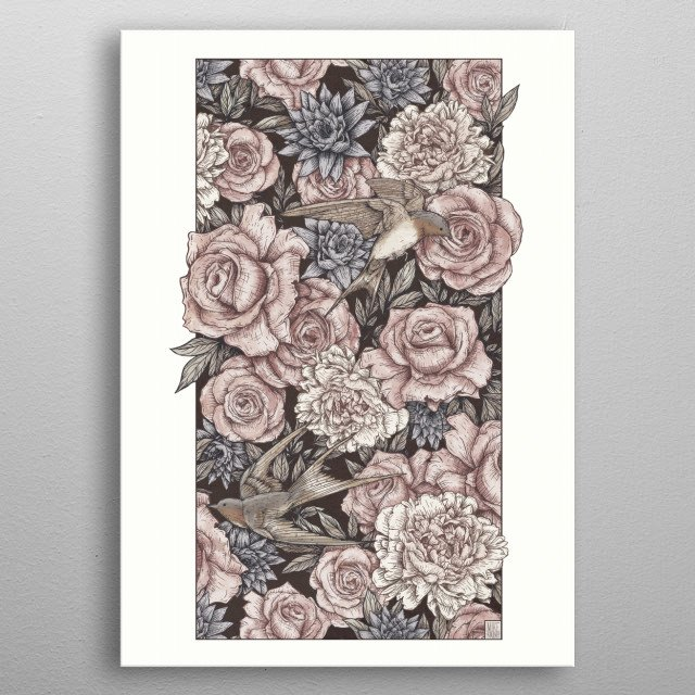 Flowers & Swallows metal poster