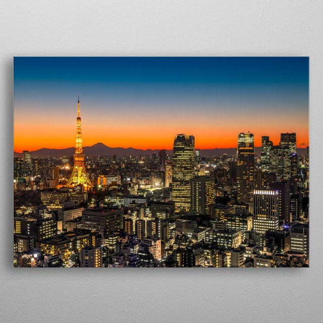 Tokyo Skyline at Sunset, Japan Mt. Fuji is visible on the horizon. metal poster