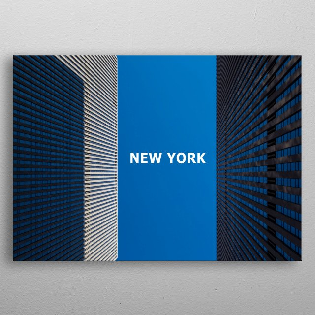 Minimalist New York Composition -  Upward Perspective of Two Skyscrapers in Midtown Manhattan metal poster