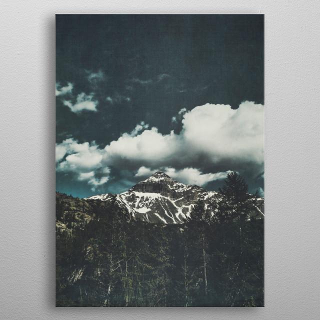 View of mountain peak in the Italian alps View from Rifugio Zoia / Campo Moro/ Valmalenco/ Italy metal poster