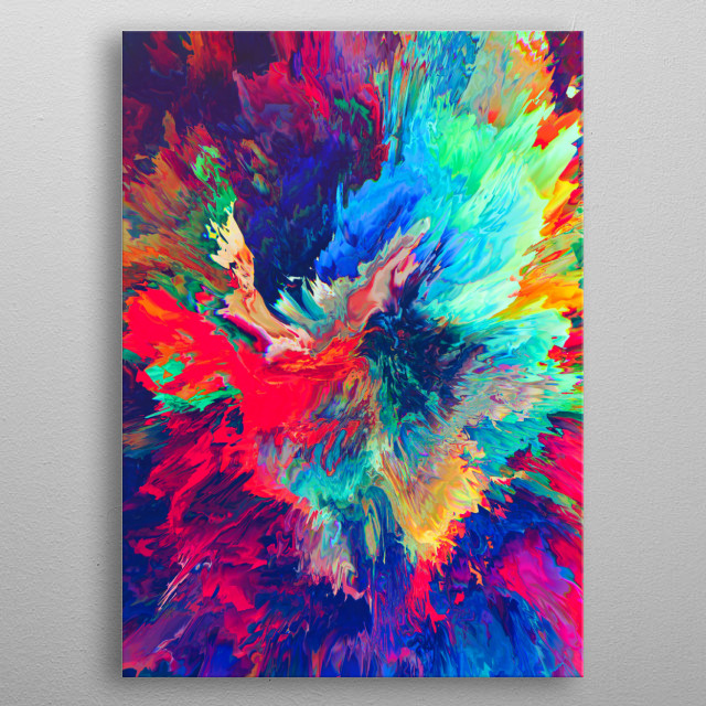 Abstract digital art metal poster