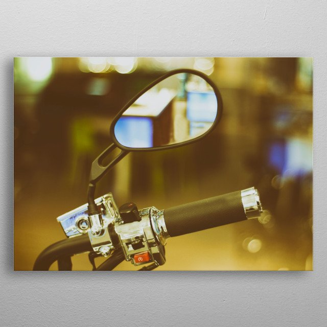 Photograph of a motorcycle handlebar and mirror metal poster