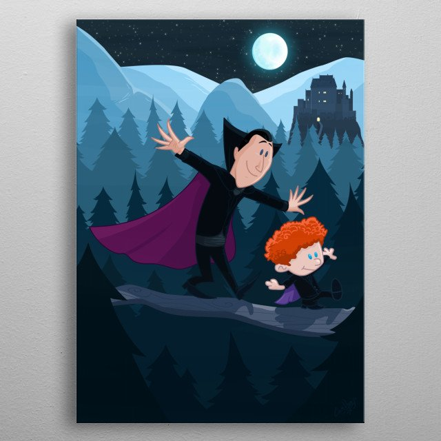 """Dennis & Dracula""  An adorable and funny crossover of ""Calvin and Hobbes"" as the proud ""Vampa"" Dracula and little Denisovich :) ""Who's ready to fly? -Me! me! Like a Superhero!...-BETTER!! Like a VAMPIRE!"" metal poster"