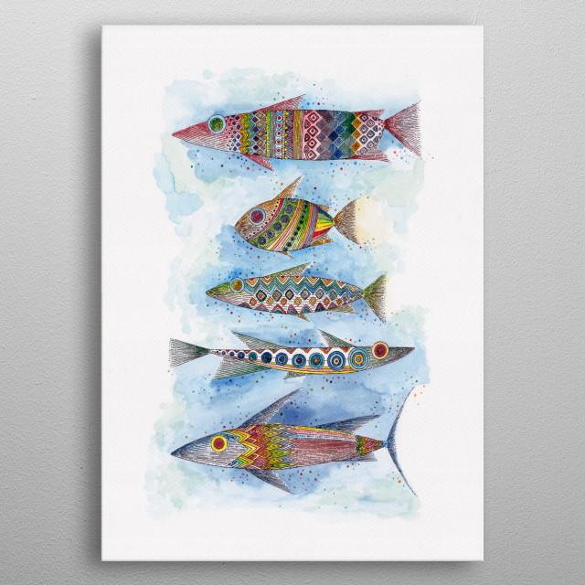 five fish metal poster