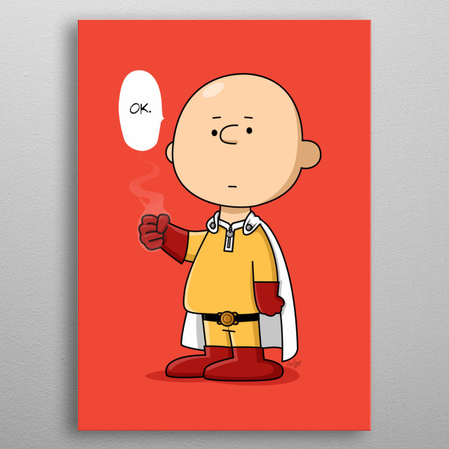 """""""One Punch Brown"""" An original an funny crossover of Charlie Brown and Saitama. metal poster"""
