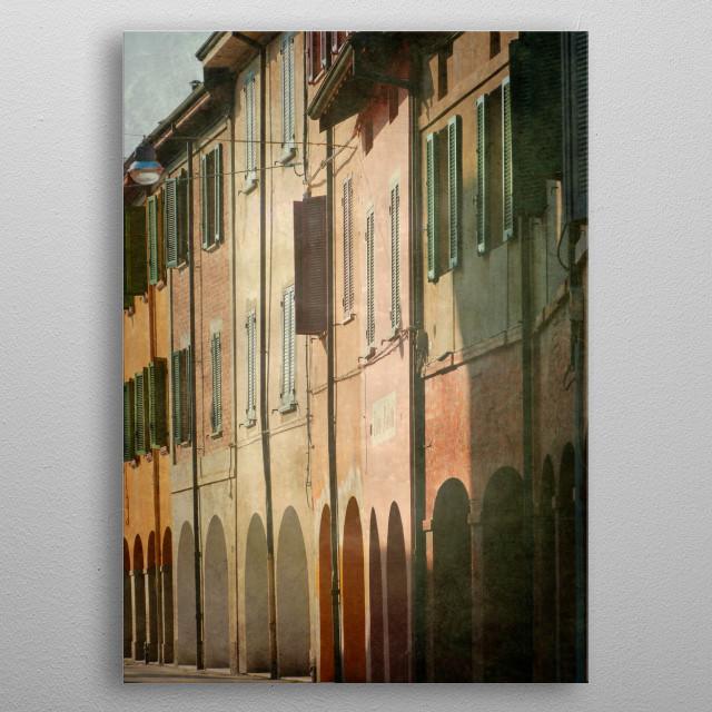 Street view in Italy (Emilia Romagna Region) metal poster