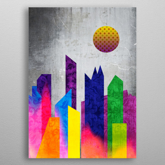 Summer Night City Colorful Trendy Flat Geometric Landscape - I drew this abstract piece using flat geometric shapes depicting buildings in an urban setting, with a trendy Summer color palette of bright tones of purple, blue, yellow and green. I added brocade texture, light leak and polka dot moon. Background is cracked concrete and antique paper textures. Makes a wonderful gift for anyone who enjoys retro yet modern designs. metal poster