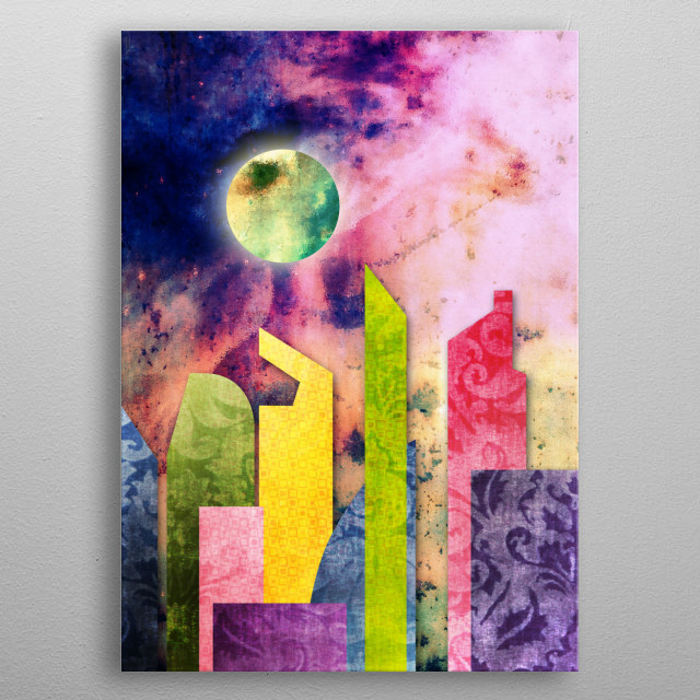 Grunge Spring Rusty Pretty City Geometric Urban Landscape - I drew this abstract piece using flat geometric shapes depicting buildings in an urban setting, with a trendy Spring palette of pink, green, blue and purple. I fashioned the background to look like outer space nebula with vintage rust and glowing green moon, then sheathed the buildings in brocade and a mosaic-like pattern. The result is a light, pretty, pastel-toned piece with gritty, contrasting textures.  metal poster