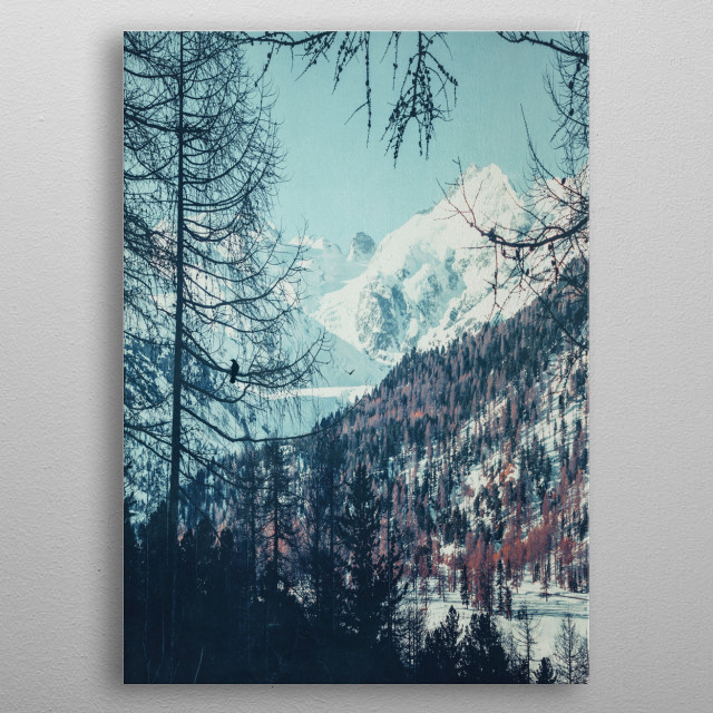 Snowy valley and mountains in the Swiss alps metal poster
