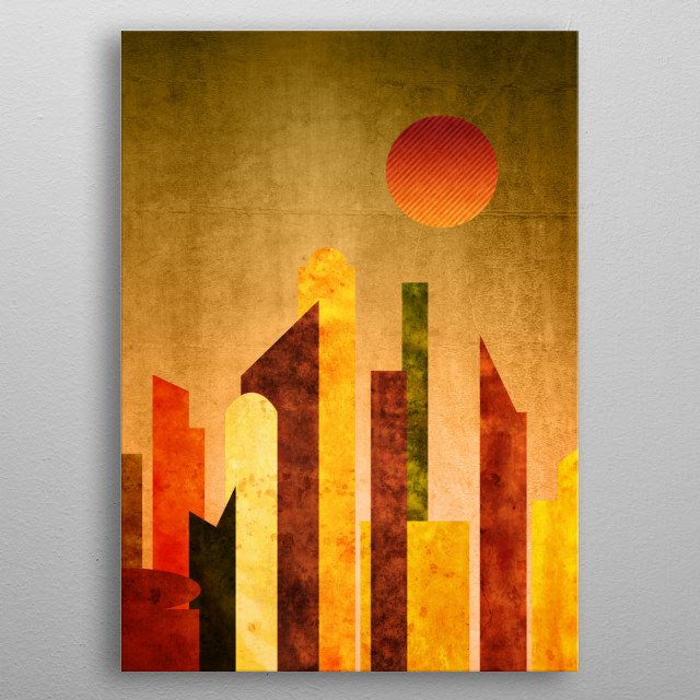 Autumn City Sunset Geometric Flat Urban Landscape - I drew this abstract piece using flat geometric shapes depicting buildings in an urban setting, with a trendy Autumn color palette of earthy brown, orange, yellow and green. I added burl wood and cracked concrete textures. The background is vintage leather and paper, with a striped, gradated sun. Makes a wonderful gift for anyone who enjoys retro yet modern designs. metal poster
