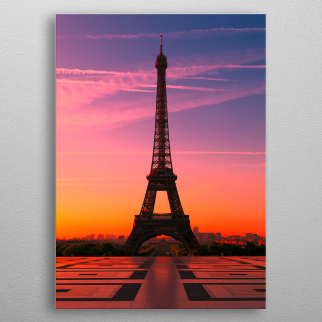 The Eiffel Tower in Paris at Sunrise, France metal poster