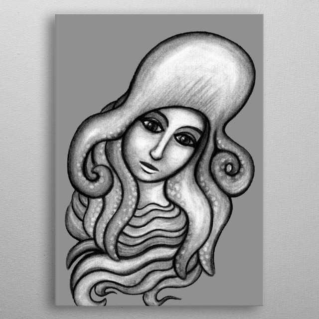 Octopus Hat - charcoal drawing metal poster