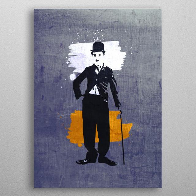 Digital illustration or drawing of Charlie Chaplin metal poster