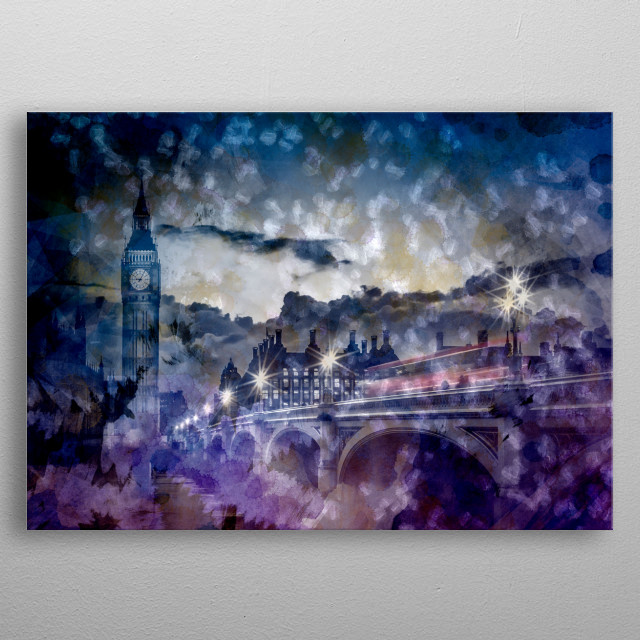 Decorative London nightscape with a red bus on Westminster Bridge. A unique home decoration with a pattern in light colours. metal poster