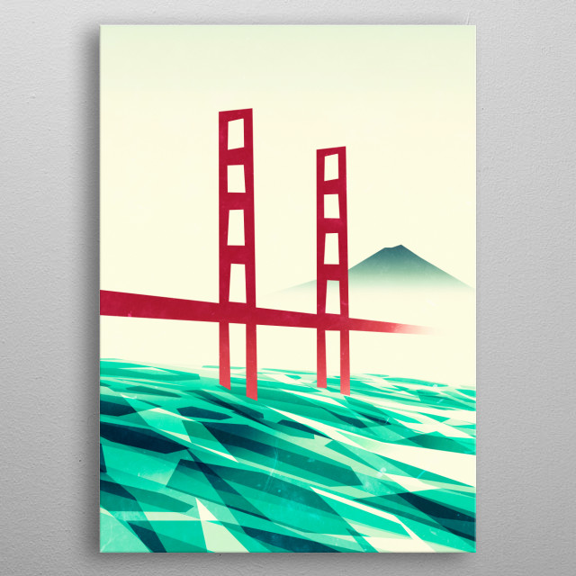 Misty day at the Golden Gate metal poster