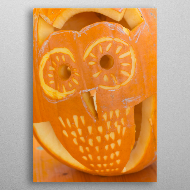 carved pumpkin for Halloween metal poster