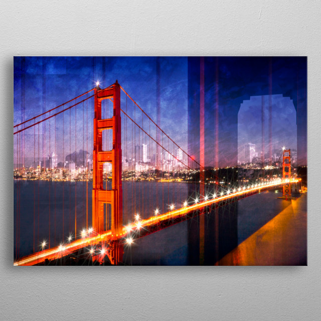 Decorative evening cityscape. Find in this double exposure also a detailed part of the Golden Gate Bridge and the skyline of San Francisco.  metal poster