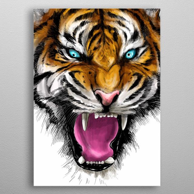 Ferocious Tiger metal poster
