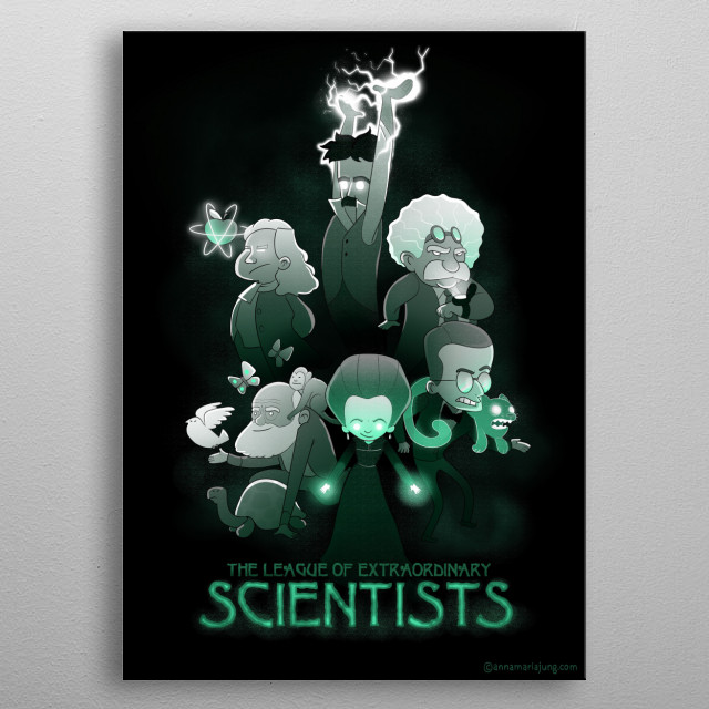 The League of Extraordinary Scientists metal poster