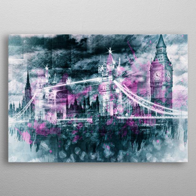 Modern-Art LONDON Tower Bridge & Big Ben Composing  metal poster