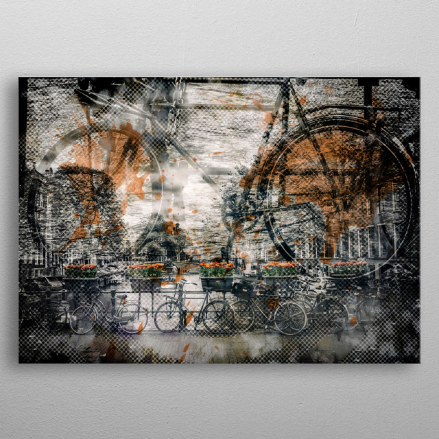 Lovely typical street scene with bicycles. Modern color accents and graphic nuances find a revolutionary combination in this urban artwork. metal poster