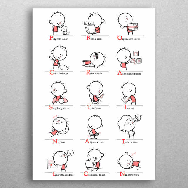 procrastination has so many faces  metal poster