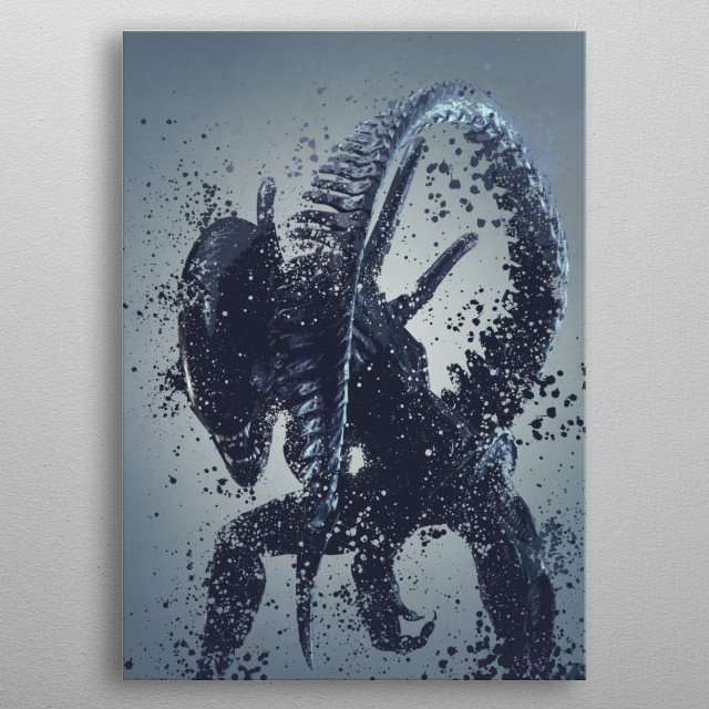 Alien warrior version 2. Splatter effect artwork inspired by the aliens universe, 2 of 5. metal poster
