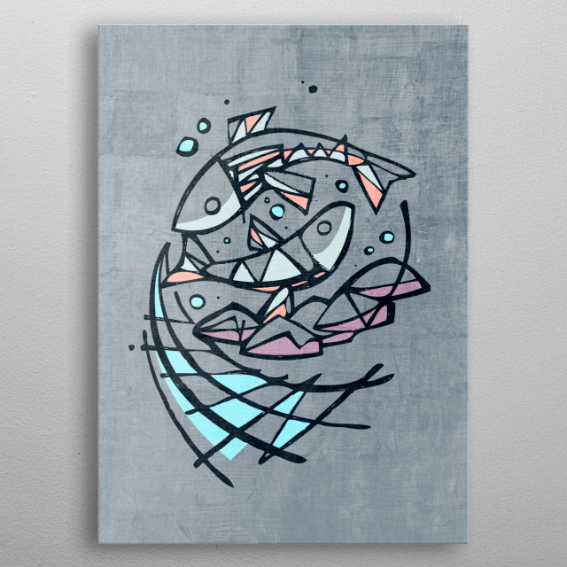 Hand drawn illustration or drawing of five breads and two fishes, representing Jesus miracle of the multiplication of fishes and breads metal poster
