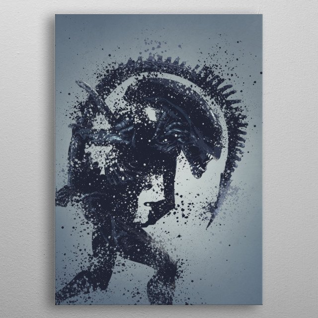 Alien warrior version 3. Splatter effect artwork inspired by the aliens universe,3 of 5. metal poster