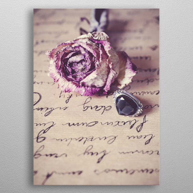 love letter rose and ring metal poster