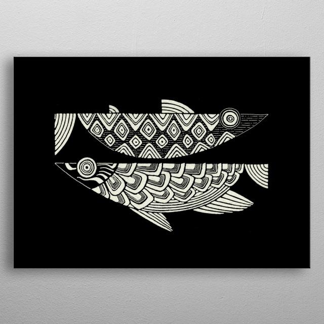 2Fish (dark) metal poster