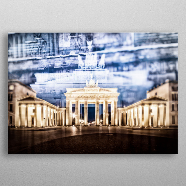 Brandenburg Gate (Brandenburger Tor) is one of the most well-known landmarks of Germany. Urban nightscape with gorgeous multiple exposure. metal poster
