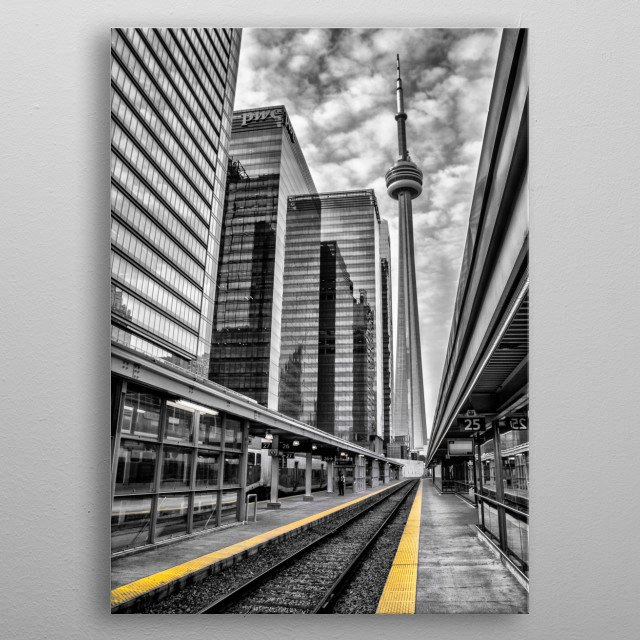 The CN Tower at Union Station. By Ken Chambers metal poster