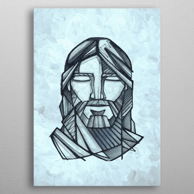 Hand drawn illustration or drawing of Jesus Christ Face... metal poster