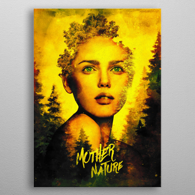 A surrealist study of a mother nature plant diety metal poster