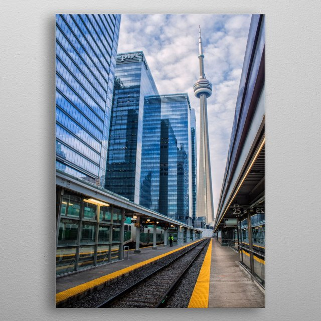 The CN Tower, shot from an empty Union Station. By Ken Chambers metal poster