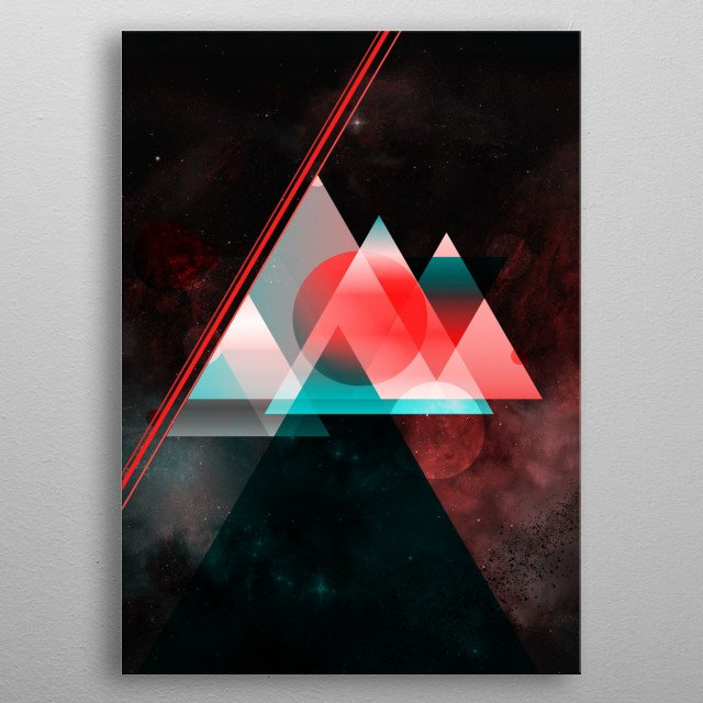 A geometric abstraction in space and time. metal poster