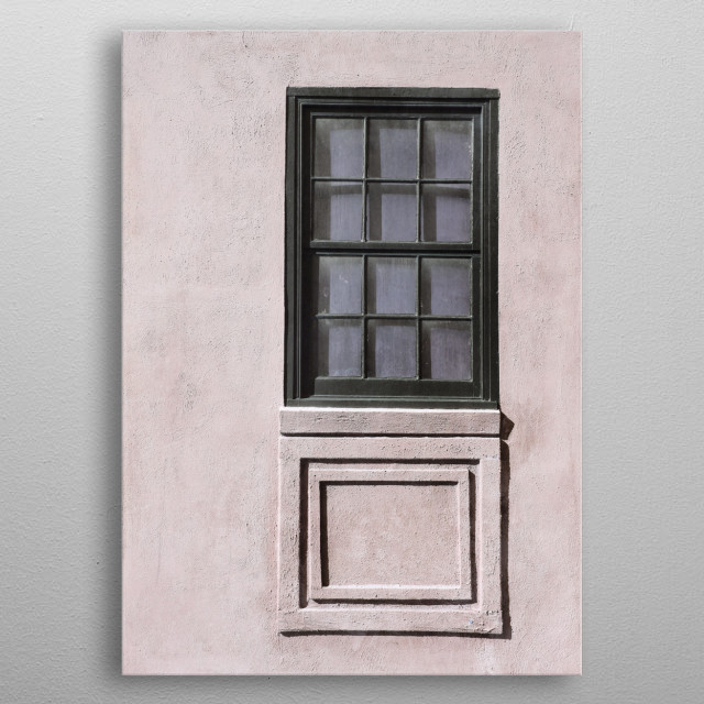 Architectural elements - vertical windows - with geometric details on a soft pastel pink, stucco building. Photographed in Charleston, South ... metal poster