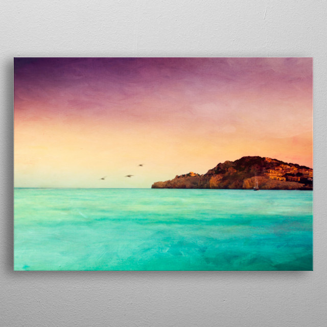 Impressionistic view of the Mediterran Sea on summer ev... metal poster