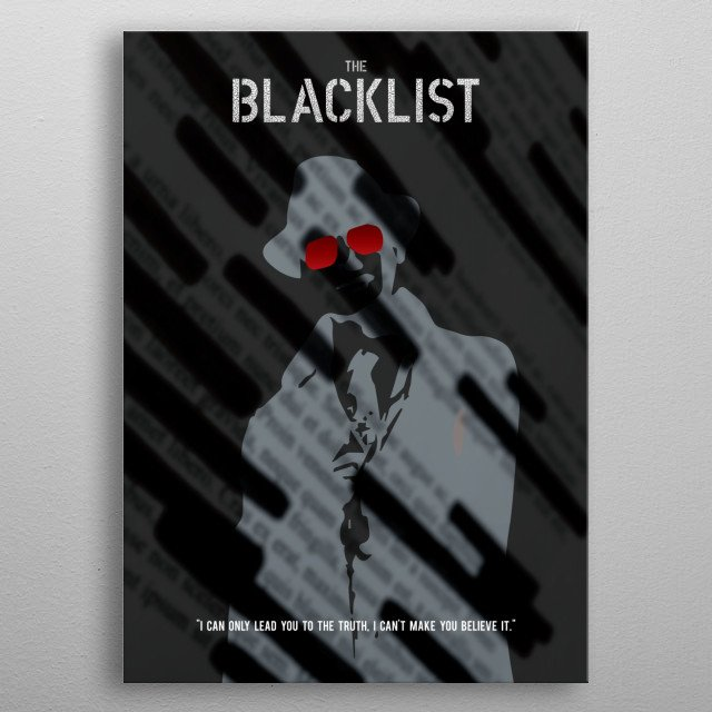 A minimalist poster for the TV show The Blacklist. metal poster