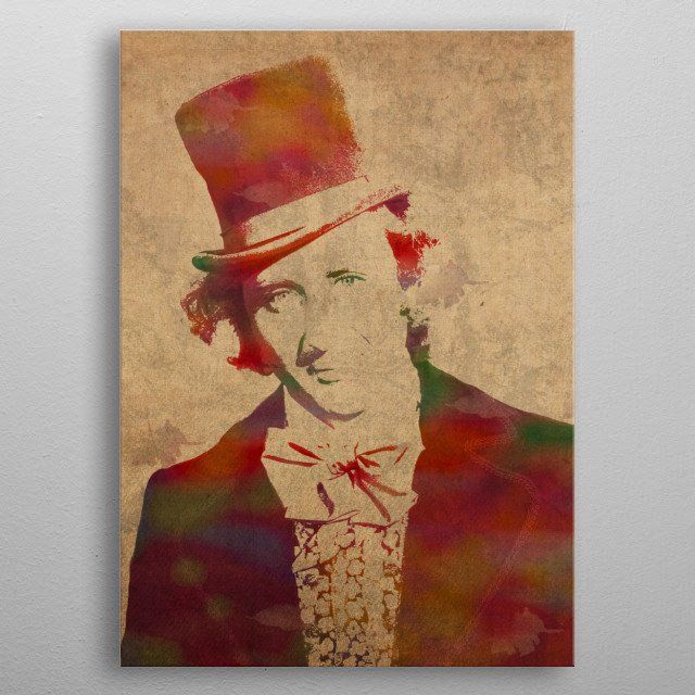 Willy Wonka Watercolor Portrait metal poster