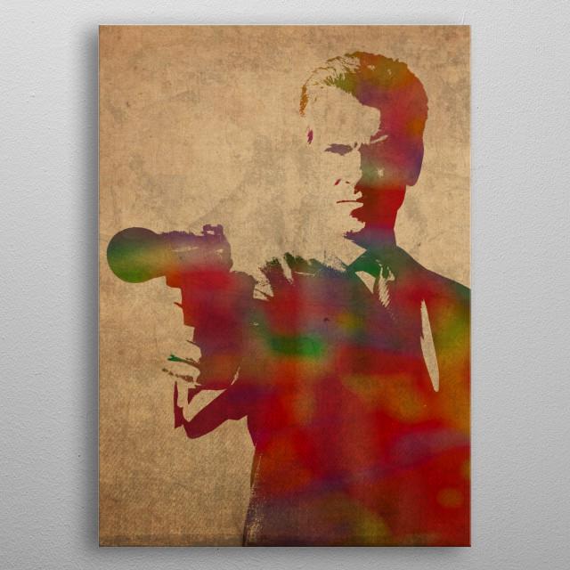 Pierce Brosnan as James Bond 007 Watercolor Portrait metal poster