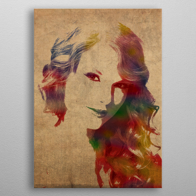 Taylor Swift Watercolor Portrait metal poster