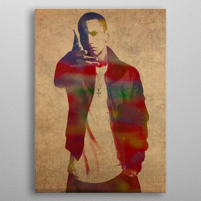 Eminem Watercolor Portrait metal poster